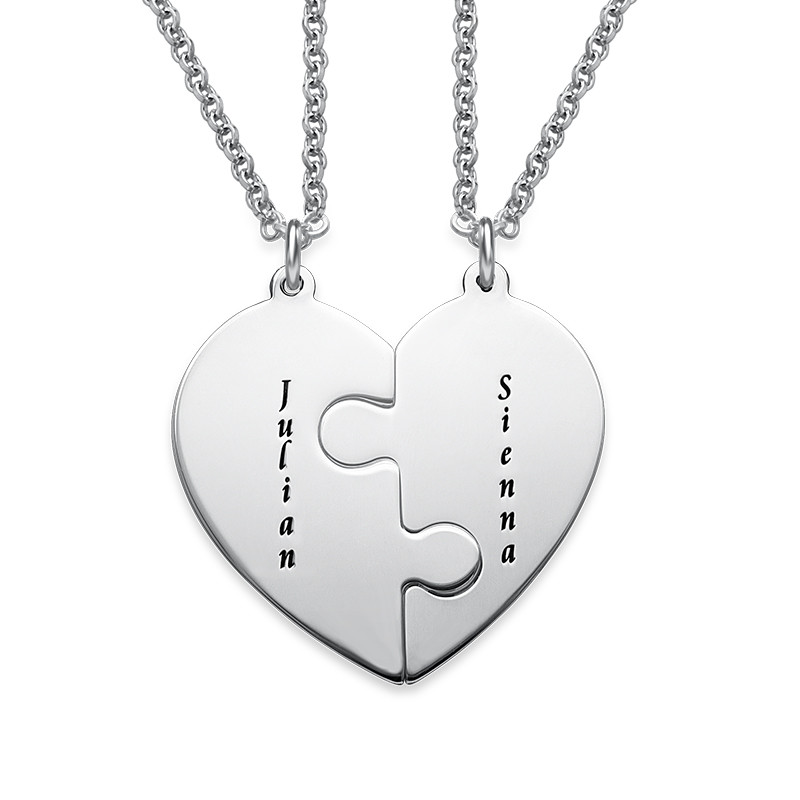 Heart Puzzle Piece Necklace Set with Engraving - 1