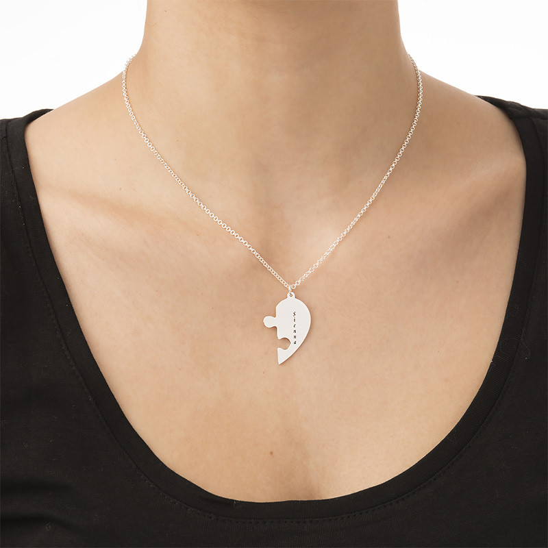 Heart Puzzle Piece Necklace Set with Engraving - 3