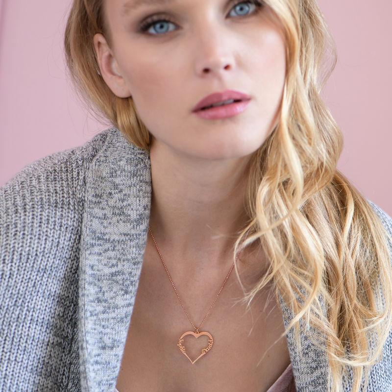 18ct Rose Gold Plated Heart Necklace - 2