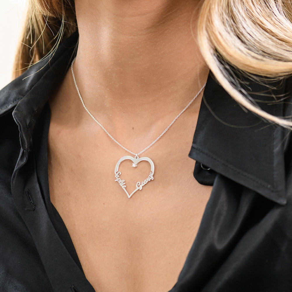 Heart Necklace in Sterling Silver with Diamond - 2