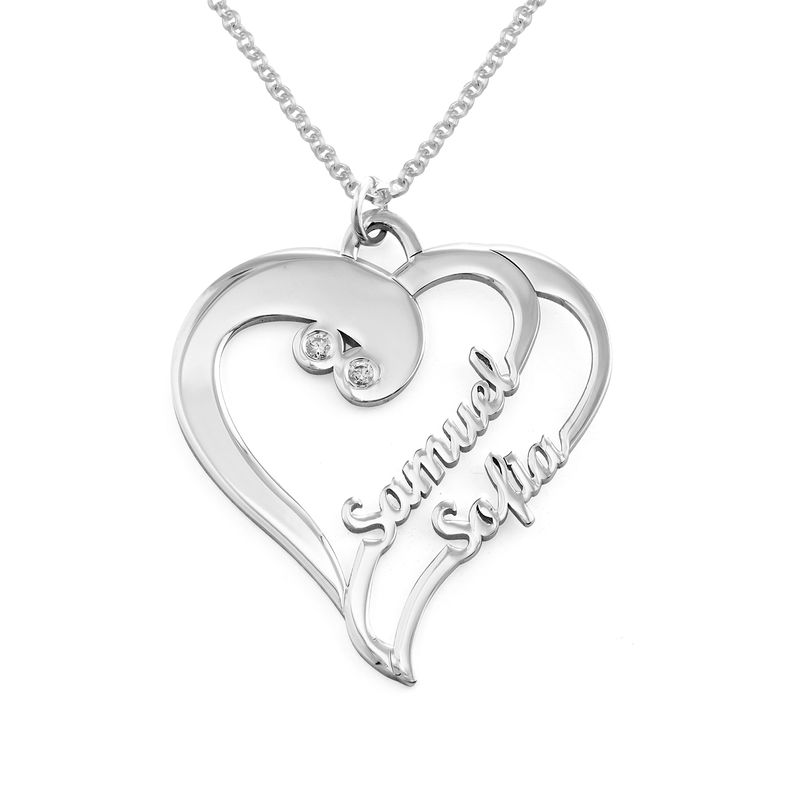 Two Hearts Forever One Necklace with Diamond in Sterling Silver