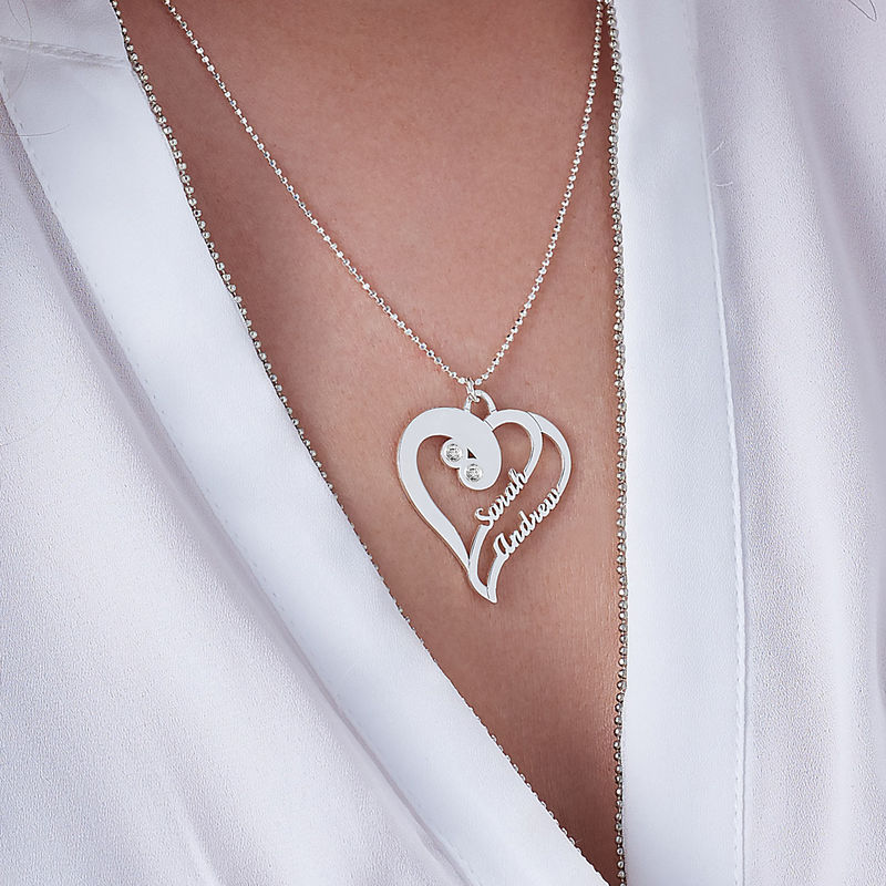 Two Hearts Forever One Necklace with Diamond in Sterling Silver - 2