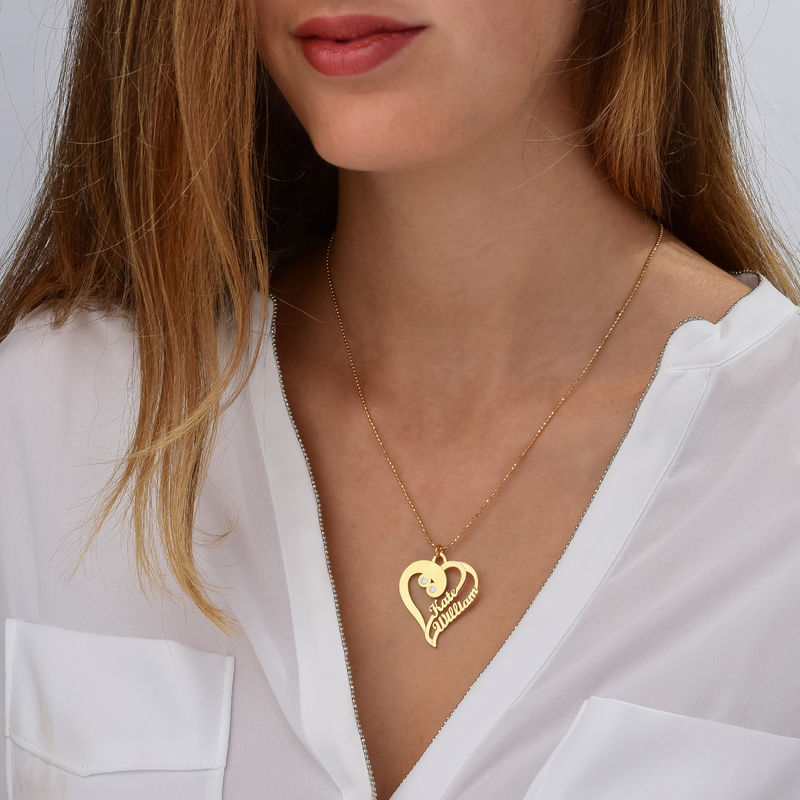 Two Hearts Forever One Necklace with Diamond in Gold Plating - 1