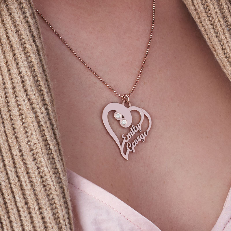 Two Hearts Forever One Necklace with Diamond in Rose Gold Plating - 2