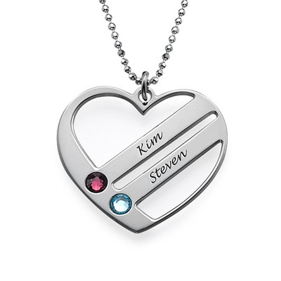 Personalised Valentine's Necklace with Birthstones