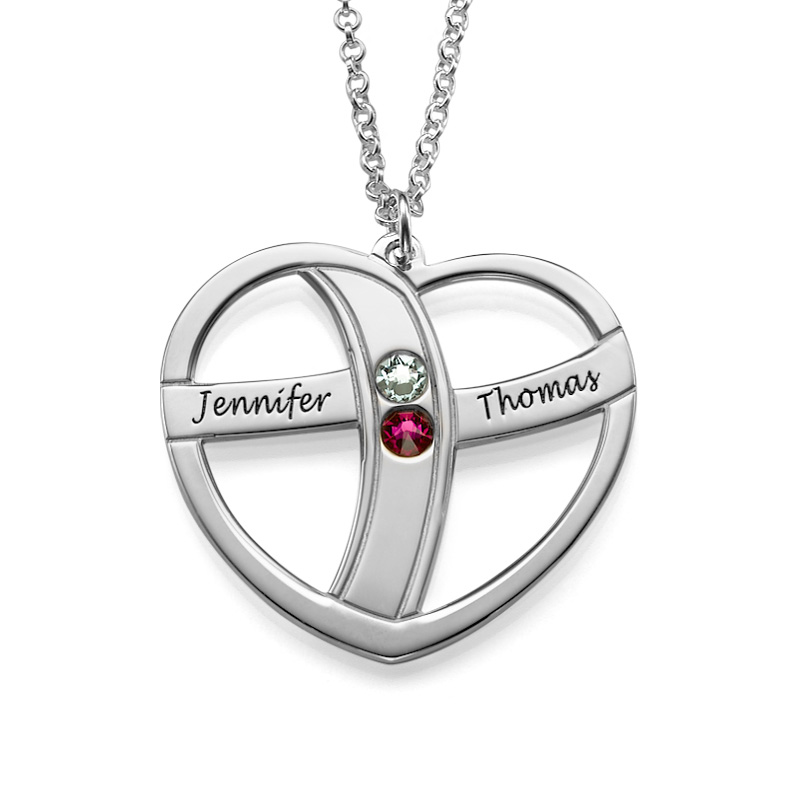 Engraved Valentine's Necklace with Birthstones