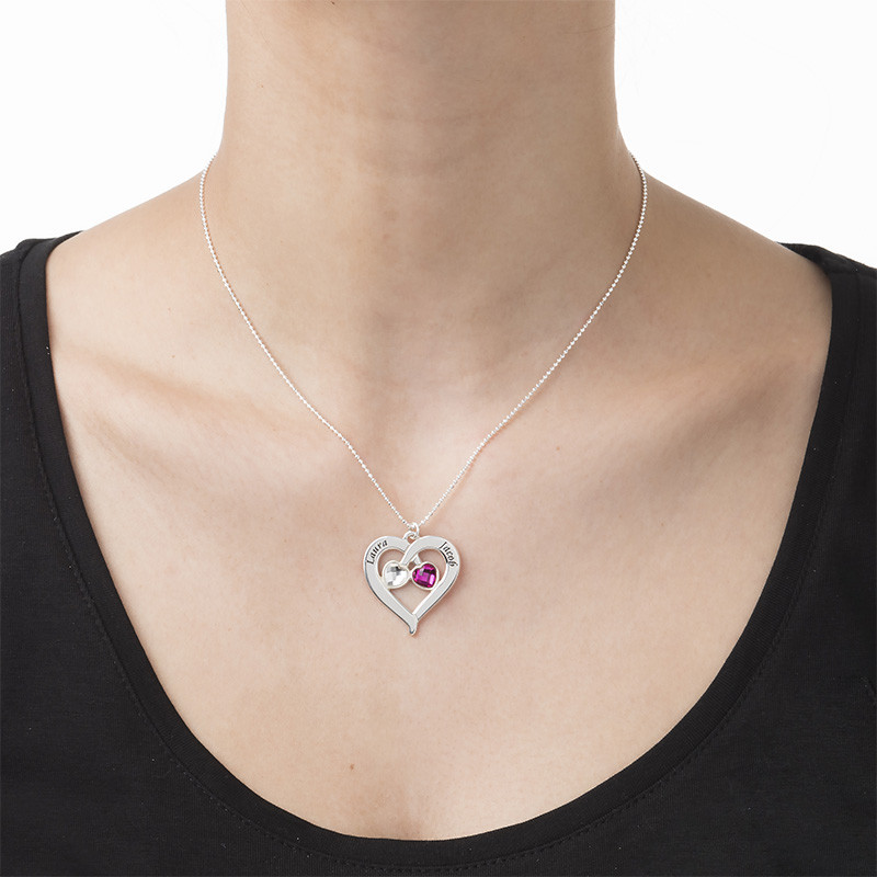 Personalised Heart Necklace with Birthstones - 2