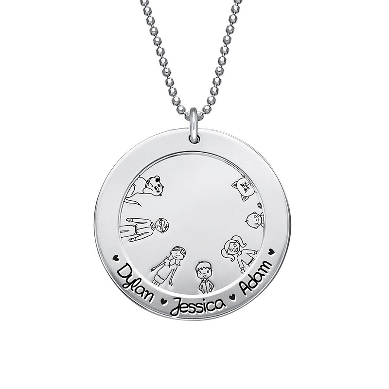 Family Necklace in Silver