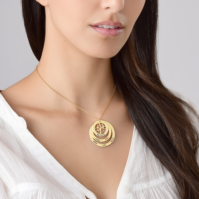 Gold Plated Family Circle Necklace with Hanging Family Tree - 2