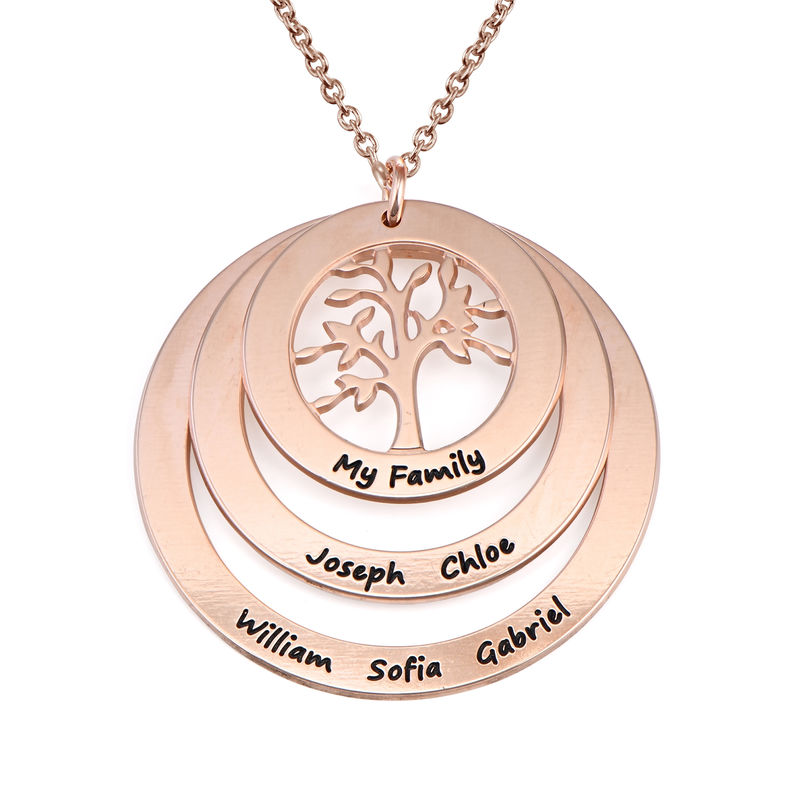 Family Circle Necklace with Hanging Family Tree in Rose Gold Plated