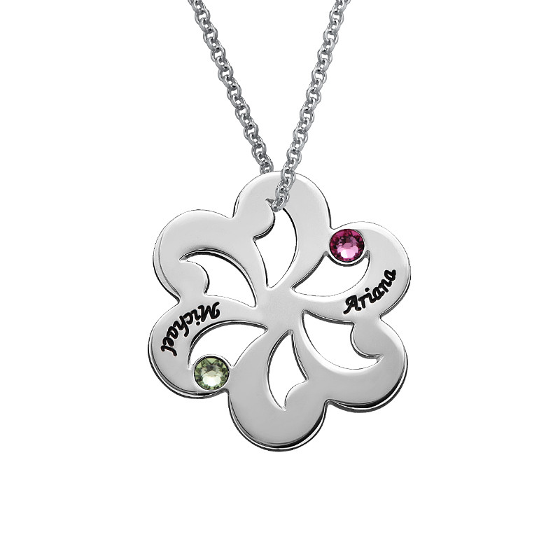 Birthstone Family Necklace - Flower Shaped - 1