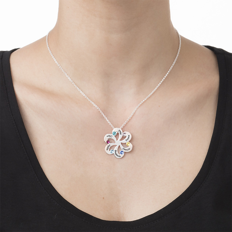 Birthstone Family Necklace - Flower Shaped - 2