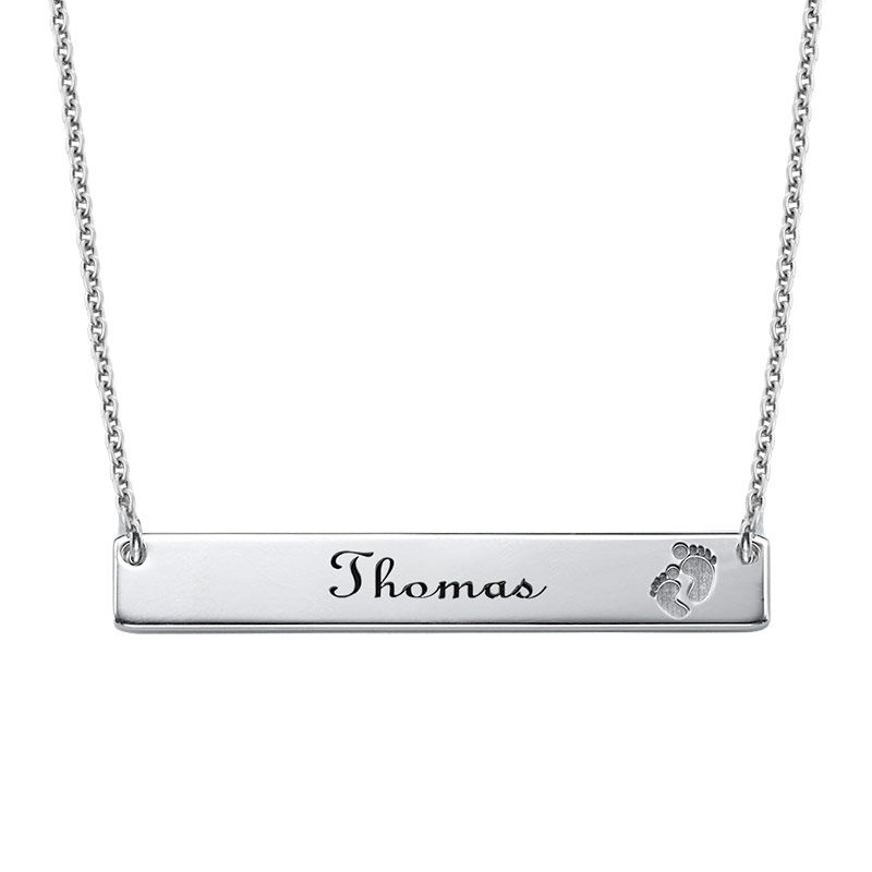 Footprint Bar Necklace with Engraving
