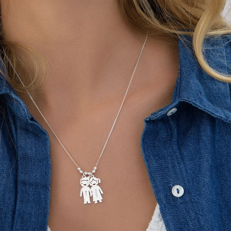 Mother's Necklace with Children Charms - 4