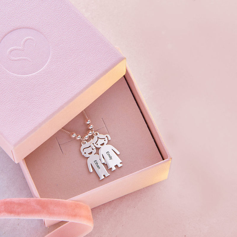 Mother's Necklace with Children Charms - 5
