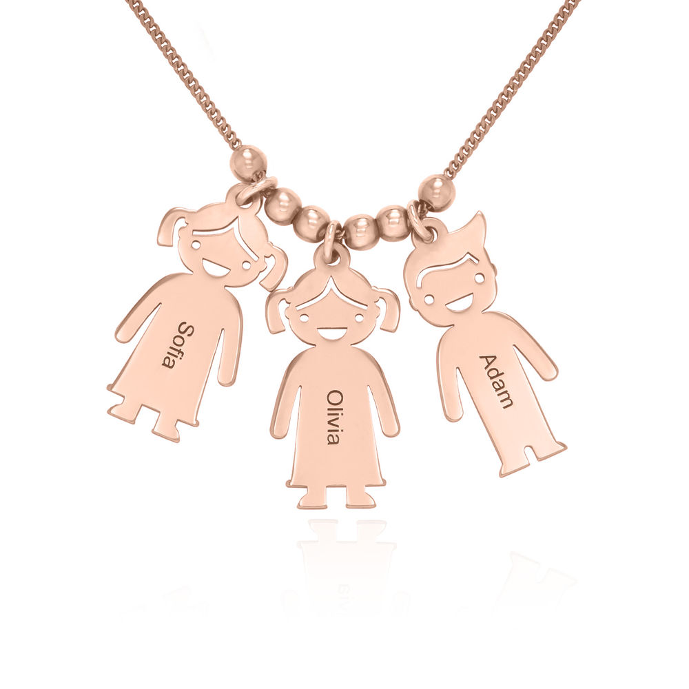 Rose Gold Plated Mother's Necklace with Children Charms