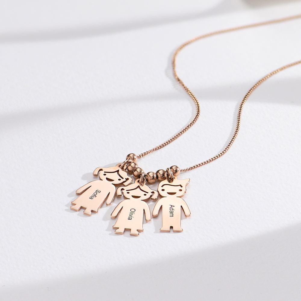 Rose Gold Plated Mother's Necklace with Children Charms - 1
