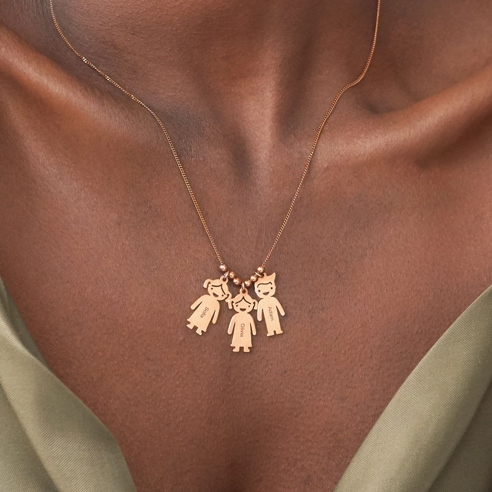 Rose Gold Plated Mother's Necklace with Children Charms - 3