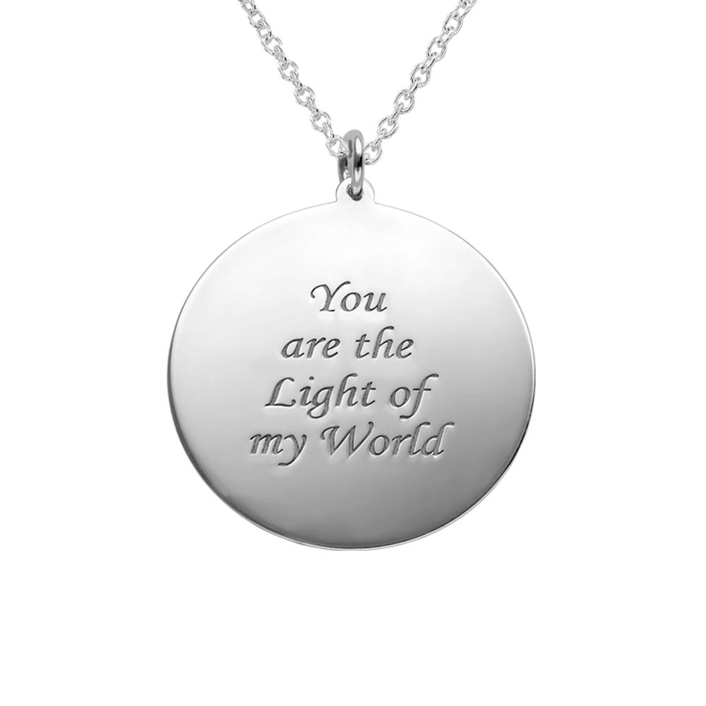 Round Pendant with Photo necklace in Sterling Silver - 2