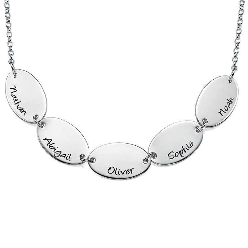 Mother Necklace with Kids Names - Oval Shaped - 1