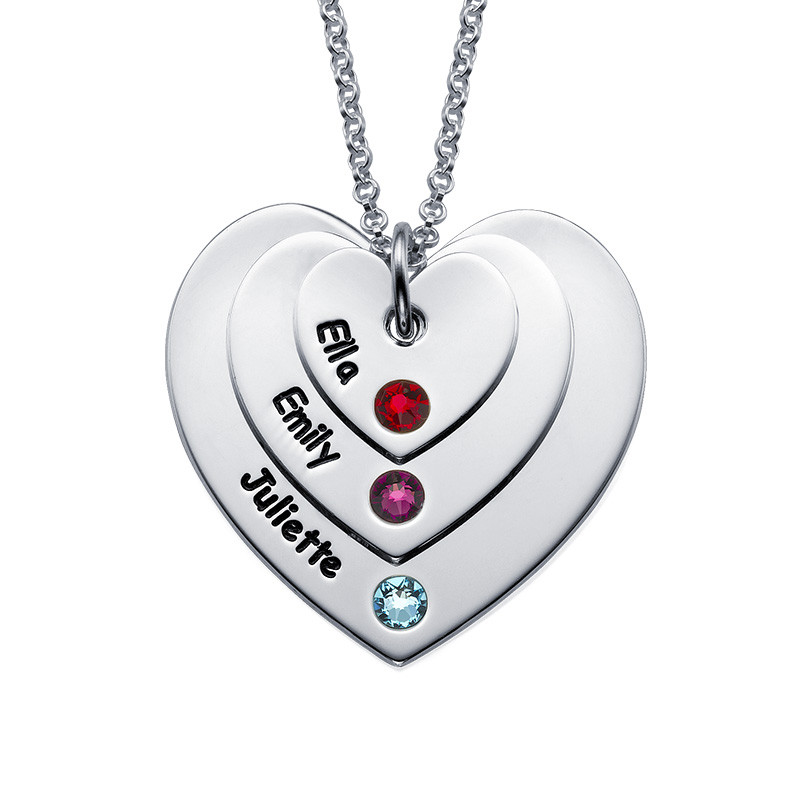Birthstone Heart Necklace for Mums