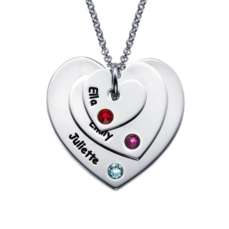 Birthstone Heart Necklace for Mums - 1