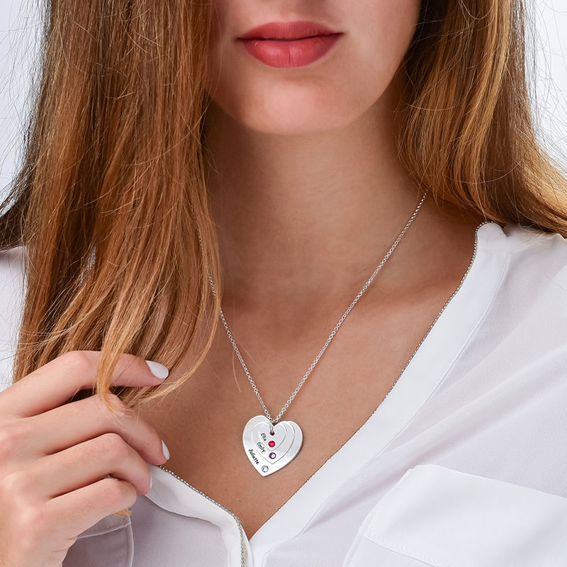 Birthstone Heart Necklace for Mums - 2