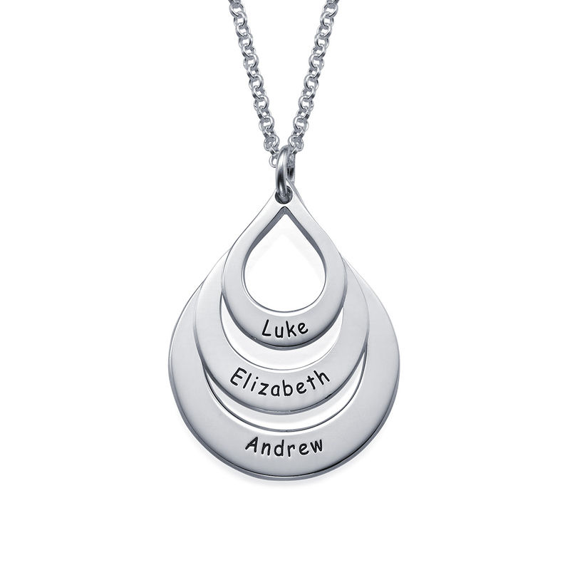 Engraved Family Necklace Drop Shaped in Sterling Silver
