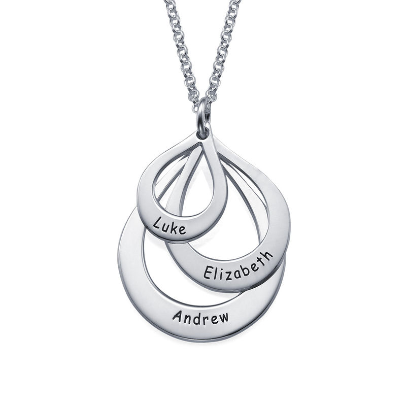 Engraved Family Necklace Drop Shaped in Sterling Silver - 1
