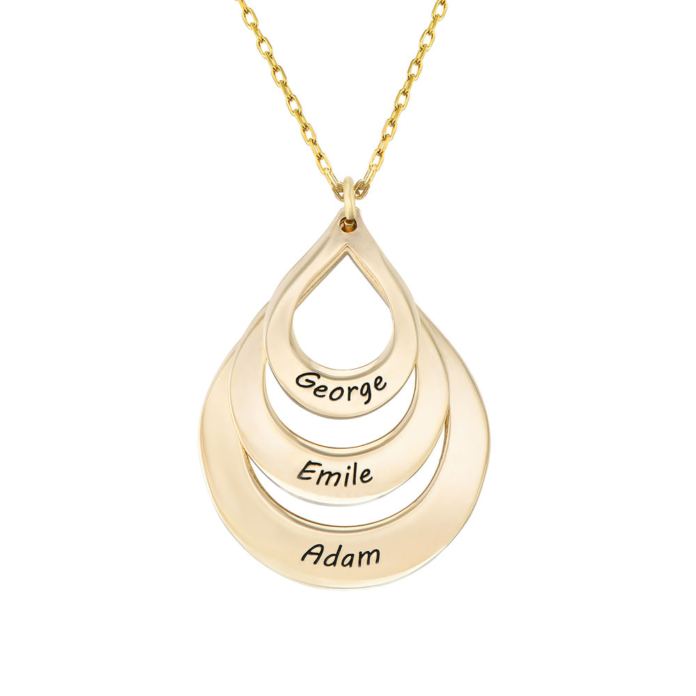 Engraved Family Necklace Drop Shaped in Gold 10ct