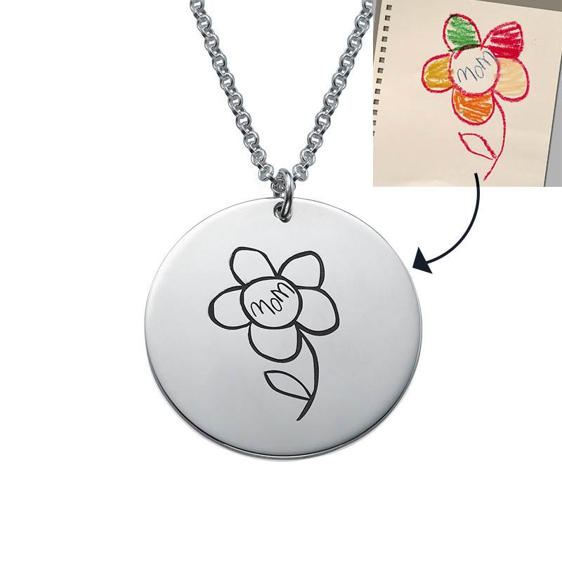 Disc Necklace for Mums with Kids Drawings - 2