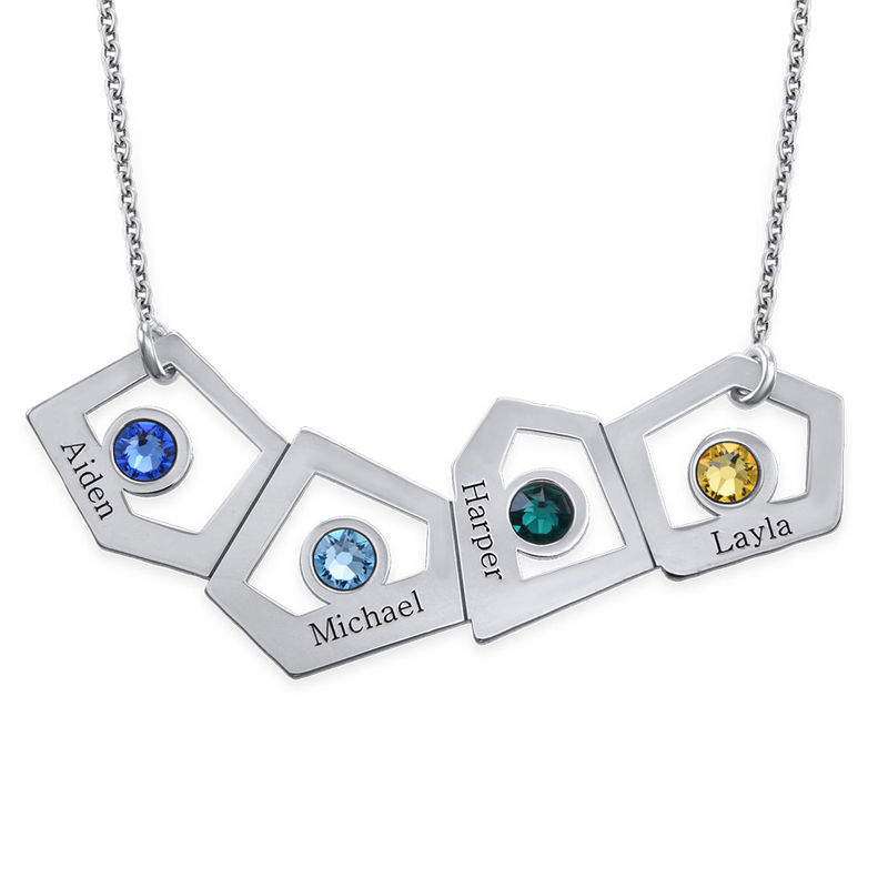 Geometric Mother Necklace with Birthstones