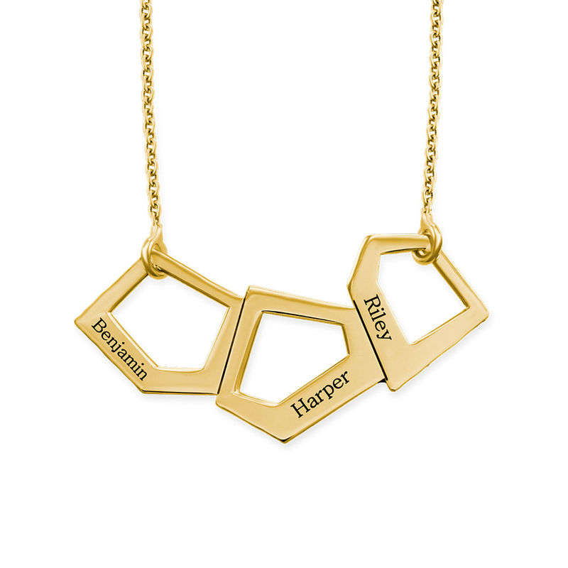 Geometric Necklace for Mums with Engraving in Gold Plating - 1