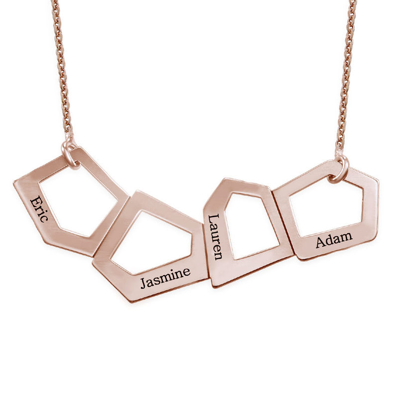 Geometric Necklace for Mums with Engraving in Rose Gold Plating