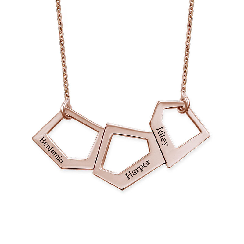 Geometric Necklace for Mums with Engraving in Rose Gold Plating - 1