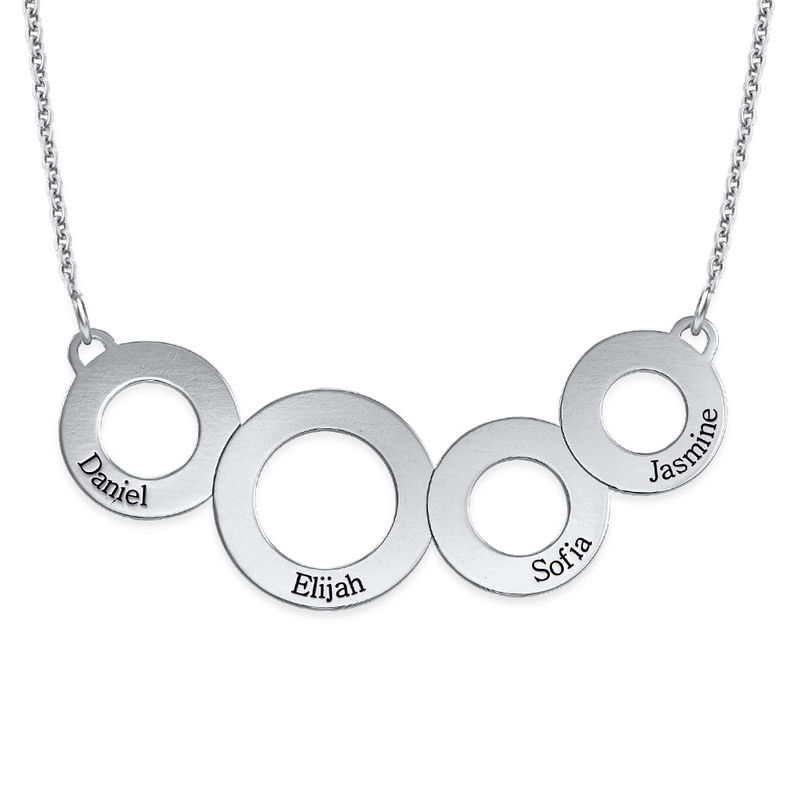 Engraved Circles Necklace in Sterling Silver