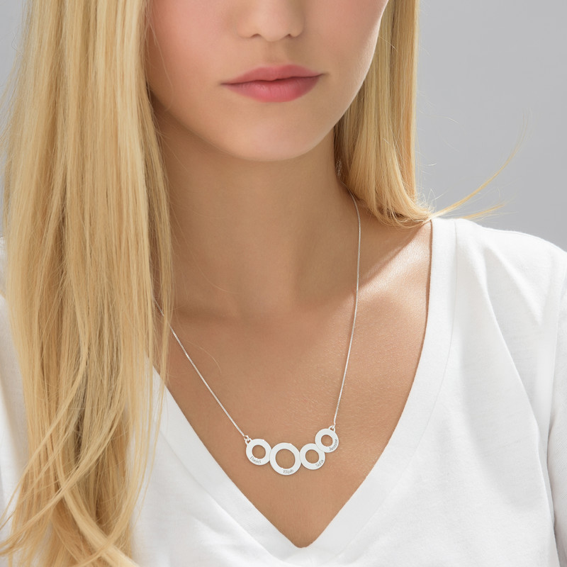 Engraved Circles Necklace in Sterling Silver - 2