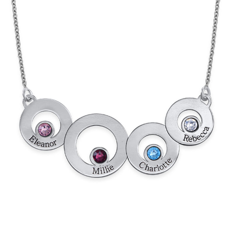 Circles Necklace with Engraving and Birthstones in Sterling Silver
