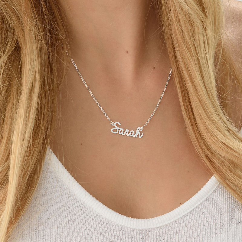 Tiny Personalised Cursive Name Necklace in Silver - 2