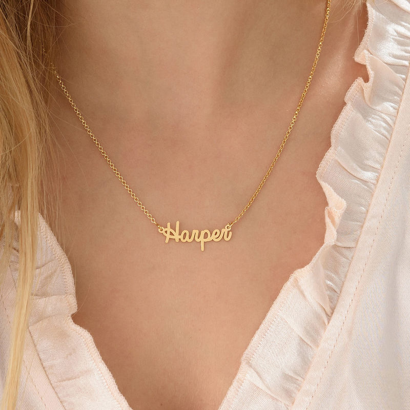 Tiny Personalised Jewellery - Cursive Name Necklace in 18ct Gold Plating - 2