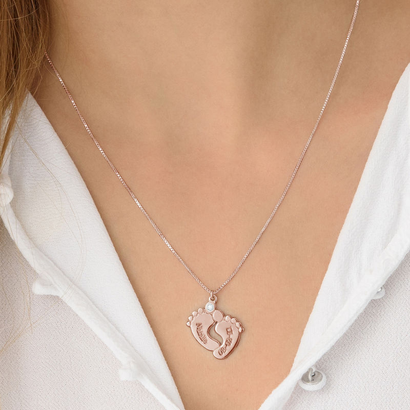 Baby Feet Necklace Rose Gold Plated with Diamond - 2