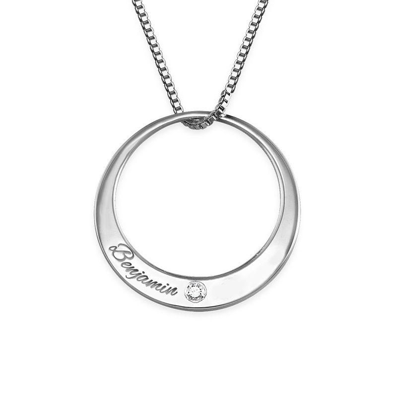 Circle Sterling Silver Diamond Necklace - 1