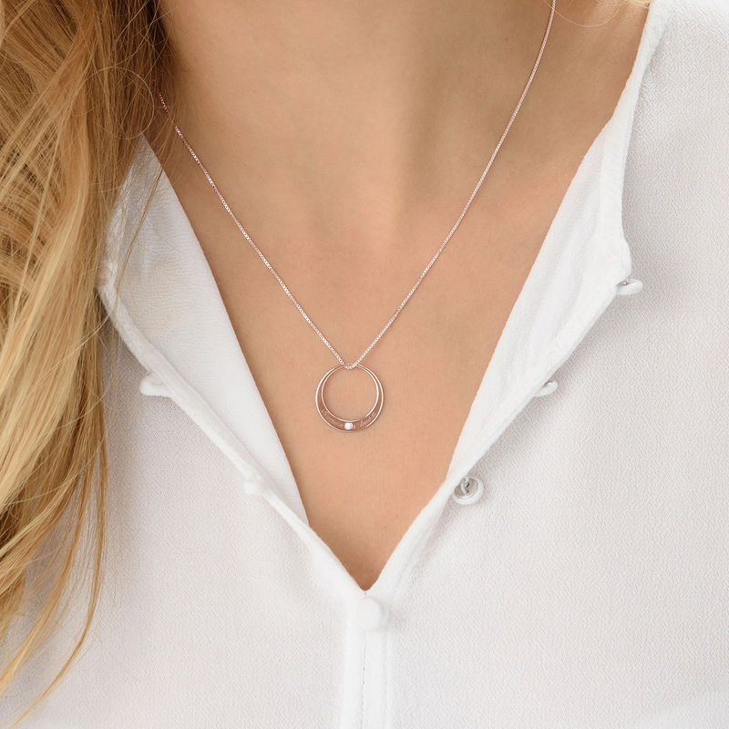 Circle Rose Gold Plated Necklace with Diamond - 3