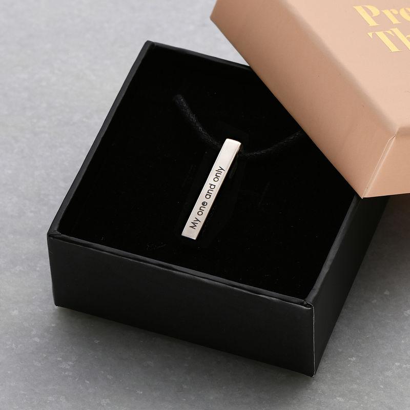 Engraved 3D Bar Name Necklace for Men in Sterling Silver - 5