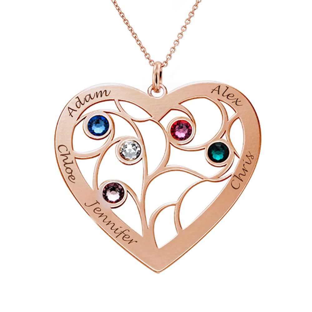 Heart Family Tree Necklace with birthstones in Rose Gold Plating - 1