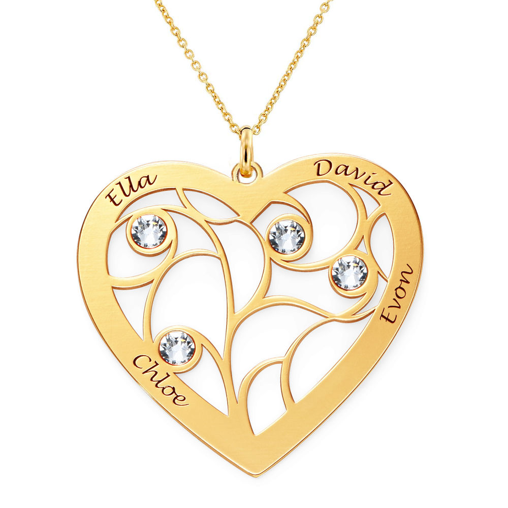 Heart Family Tree Necklace with Birthstones in Vermeil