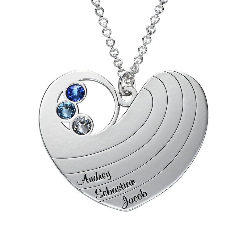 Mother Heart Necklace with Birthstones in Silver Sterling