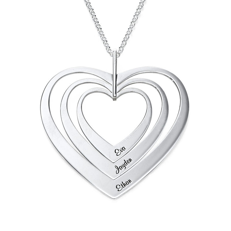 Family Hearts Necklace in Silver Sterling