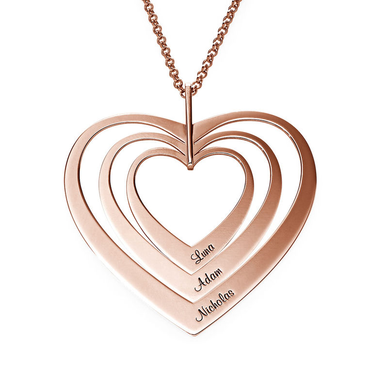 Family Hearts Necklace in Rose Gold Plating