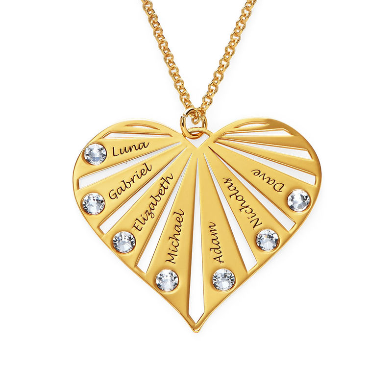 Family Necklace with Birthstones in 18ct Gold Vermeil - 1